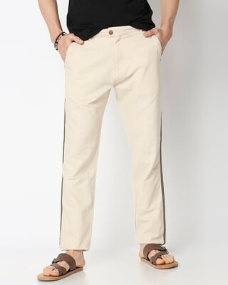 Shop Men's Solid Side Tape Indo Fusion Pants-Front