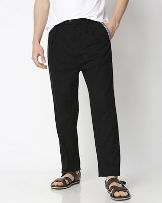 Shop Men's Solid Black Tape Pants-Front