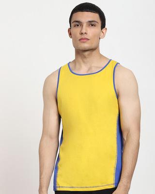 Shop Ceylon Yellow Color Block Vest-Front
