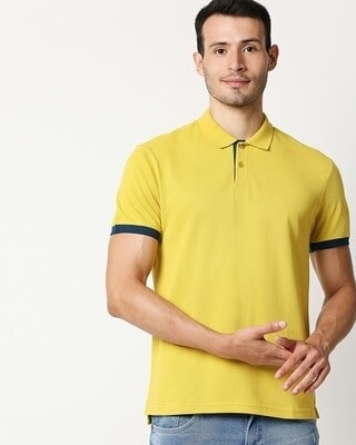 Shop Yellow Contrast Sleeve Polo T-Shirt-Front