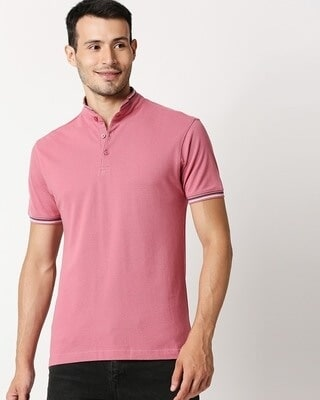 Shop Pink Short Collar Tipping Polo-Front