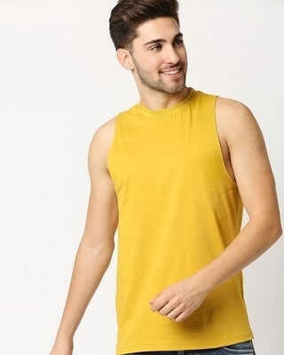 Shop Ceylon Yellow Deep Armhole Vest-Front