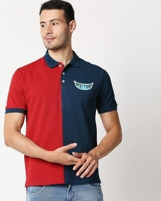 Shop Red Half & Half Polo T-Shirt-Front