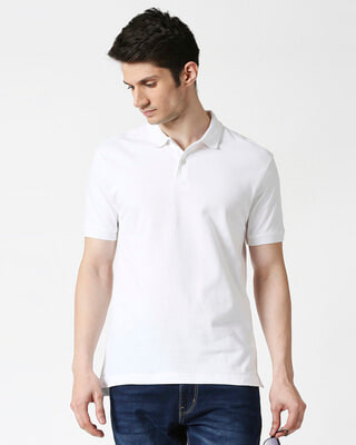 Shop White Basic Pique Polo-Front