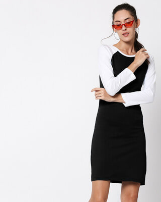 Shop Black Raglan Dress-Front