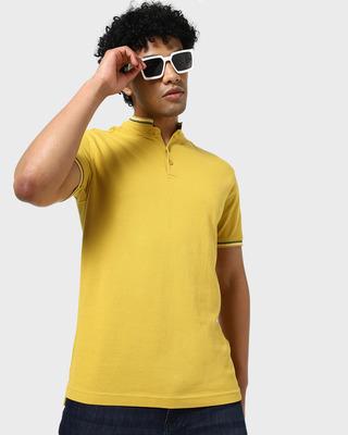 Shop Yellow Short Collar Tipping Polo-Front