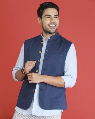 Shop Men's Solid Nehru Jacket-Front