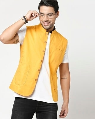 Shop Men's Solid Nehru Jacket-Front