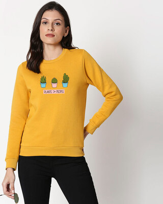 Shop Plants Are Better Fleece Sweater Mustard Yellow-Front