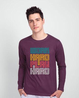 Shop Play Hard! Full Sleeve T-Shirt-Front