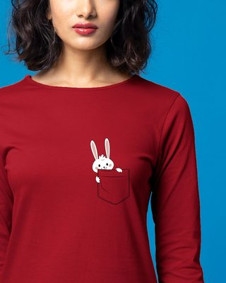 Shop Pocket Bunny Boat Neck 3/4th Sleeve T-Shirt Dress-Front