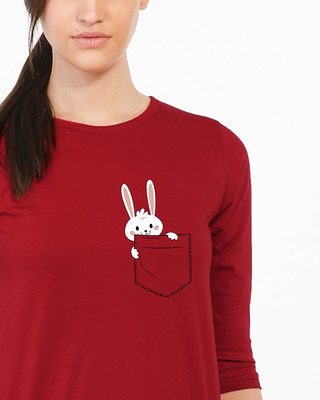 Shop Pocket Bunny Round Neck 3/4th Sleeve T-Shirt-Front