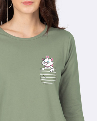 Shop Pocket Cat Round Neck 3/4 Sleeve T-Shirts Moss Green (DL)-Front