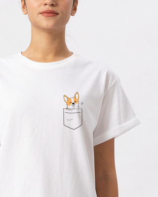 Shop Pocket Corgi Boyfriend T-Shirt-Front