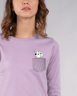 Shop Pocket Dalmatian Round Neck 3/4th Sleeve T-Shirt (DL)-Front