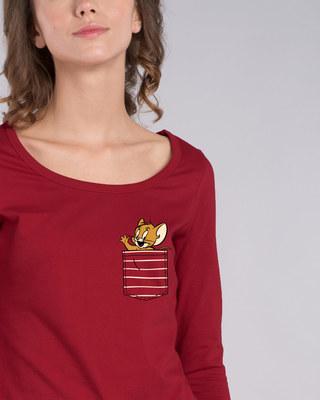 Shop Pocket Jerry Scoop Neck Full Sleeve T-Shirt (TJL)-Front
