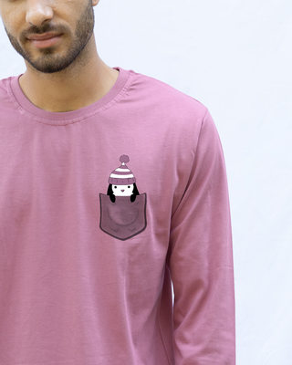 Shop Pocket Penguin Frosty Full Sleeve T-Shirt-Front