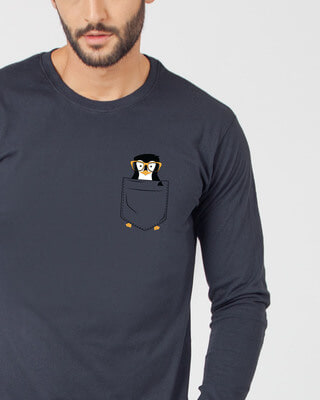 Shop Pocket Penguin Full Sleeve T-Shirt-Front