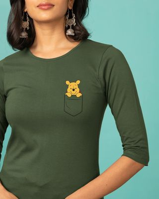 Shop Pocket Pooh Round Neck 3/4th Sleeve T-Shirt (DL)-Front