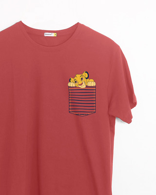 Shop Pocket Simba Half Sleeve T-Shirt (DL)-Front