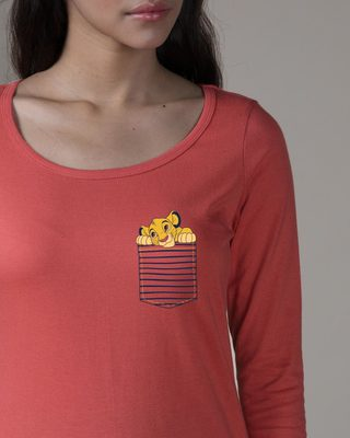 Shop Pocket Simba Scoop Neck Full Sleeve T-Shirt (DL)-Front