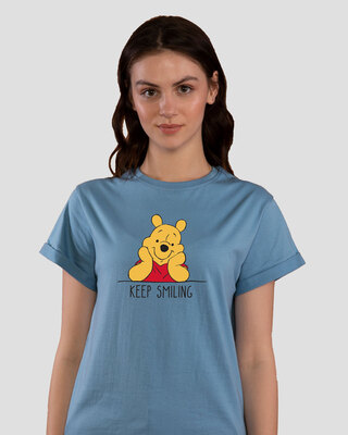 Shop Pooh Keep Smiling Boyfriend T-Shirt (DL)-Front