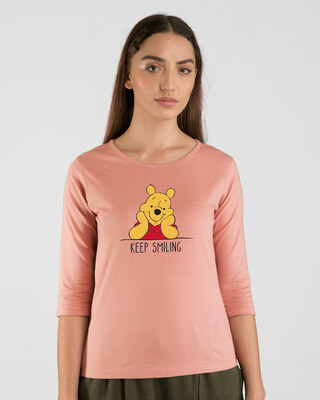 Shop Pooh Keep Smiling Round Neck 3/4th Sleeve T-Shirt (DL)-Front