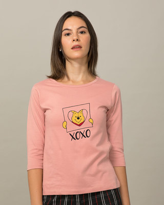 Shop Pooh Xoxo Round Neck 3/4th Sleeve T-Shirt (DL)-Front