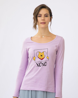 Shop Pooh Xoxo Scoop Neck Full Sleeve T-Shirt (DL)-Front