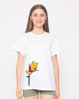 Shop Pooh Zip Boyfriend T-Shirt (DL)-Front
