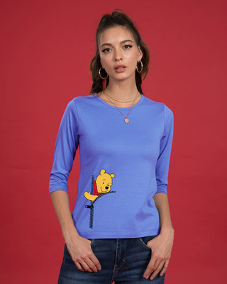 Shop Pooh Zip Round Neck 3/4th Sleeve T-Shirt (DL)-Front