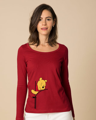Shop Pooh Zip Scoop Neck Full Sleeve T-Shirt (DL)-Front