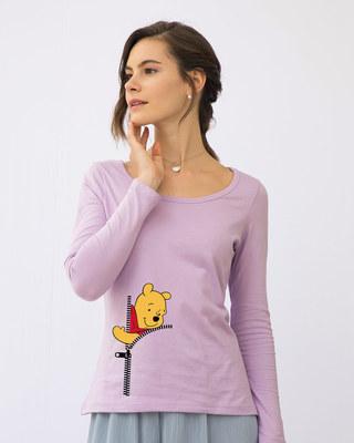 Shop Pooh Zip Scoop Neck Full Sleeve T-Shirt (DL)-Front