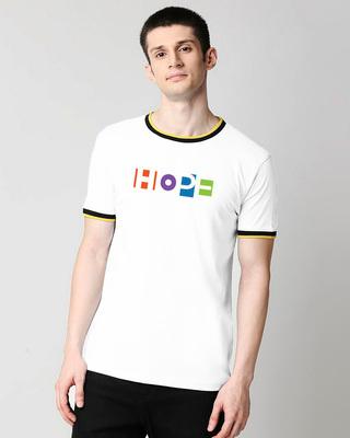 Shop Pop Hope Round Neck Varsity T-Shirt-Front