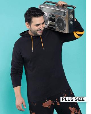 Shop Popcorn Yellow Shoulder Sleeve Stripe Hoodie T-Shirt-Front