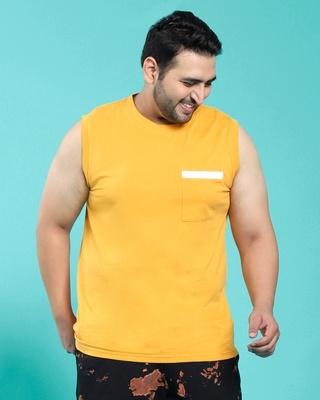 Shop Popcorn Yellow Pocket Vest-Front