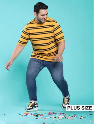 Shop Popcorn Yellow Stripe T-Shirt-Front