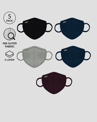 Shop 2-Layer Premium Protective Masks - Pack of 5 (Jet black-Meteor Grey-Burgundy-Blue Red-Blue Purple)-Front