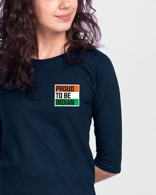 Shop Proud To Be Indian Round Neck 3/4 Sleeve T-Shirt - Navy Blue-Front