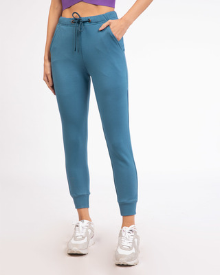 Shop Prussian Blue Fleece Joggers-Front