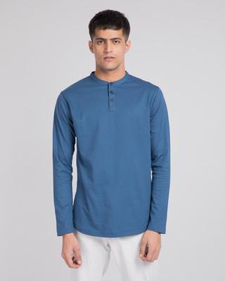 Shop Prussian Blue Full Sleeve Henley T-Shirt-Front