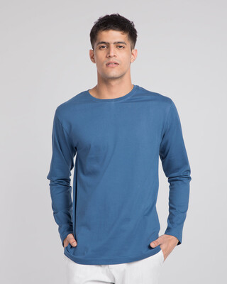 Shop Prussian Blue Full Sleeve T-Shirt-Front