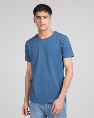 Shop Prussian Blue Half Sleeve T-Shirt-Front