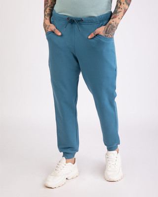 Shop Prussian Blue Round Pocket Joggers Pants-Front