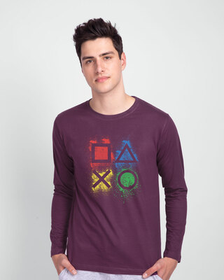 Shop Ps Buttons Full Sleeve T-Shirt-Front