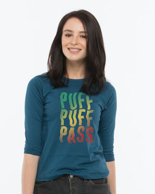 Shop Puff Puff Round Neck 3/4th Sleeve T-Shirt-Front