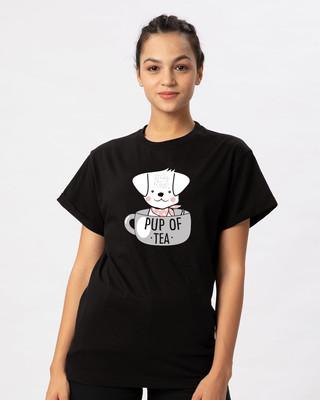 Shop Pup Of Tea Boyfriend T-Shirt-Front