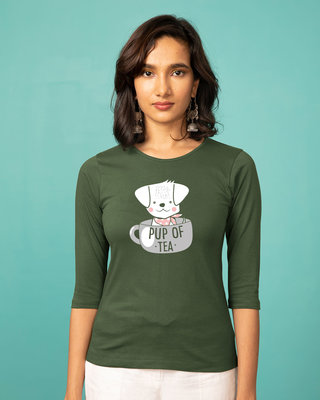 Shop Pup Of Tea Round Neck 3/4th Sleeve T-Shirt-Front