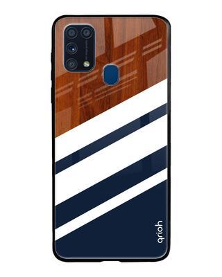Shop Qrioh Bold Stripes Glass Case For Samsung Galaxy M31-Front