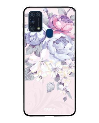 Shop Qrioh Elegant Floral Glass Case For Samsung Galaxy M31-Front